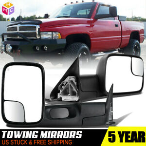 Fit 1998 2001 Dodge Ram 1500 98 02 2500 3500 New Power Heated Towing Mirrors L R
