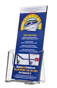 Qty 30 Tri Fold Brochure Holder Wall Or Desk Top 4 W Literature Maps Menu Box