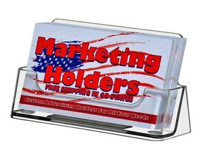 Business Card Holder Gift Card Display Ridged Horizontal Stand Clear Pack Of 4