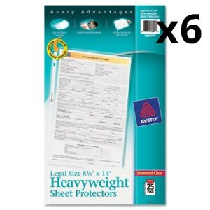 6 Top load Polypropylene Sheet Protector Heavy Legal Diamond Clear 25 pack