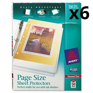 6 Top load Poly 3 hole Punched Sheet Protectors Letter Diamond Clear 50 box