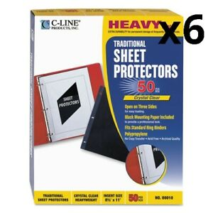 6 Traditional Polypropylene Sheet Protectors Heavyweight 11 X 8 5 50 box