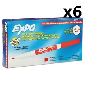6 Pack Of Low Odor Dry Erase Marker Fine Point Red Dozen