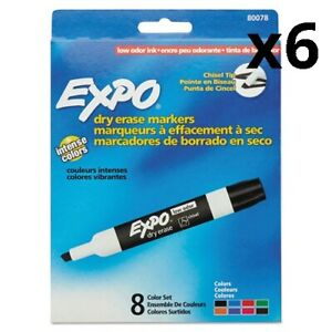 6 Pack Of Low Odor Dry Erase Marker Chisel Tip Assorted 8 set