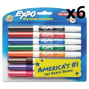 6 Pack Of Low odor Dry erase Marker Fine Point Assorted 8 set