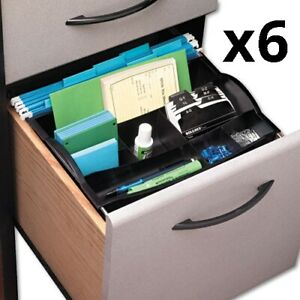 Hanging Desk Drawer Organizer Plastic Black Pack Of 6