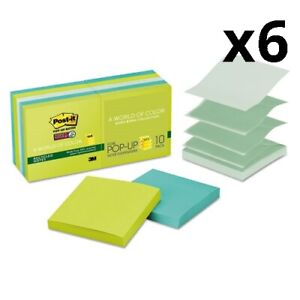 6 Pop up Recycled Notes In Bora Bora Colors 3 X 3 90 sheet 10 pack