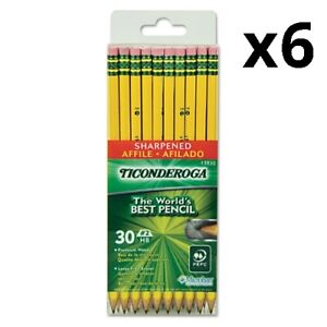 6 Pre sharpened Pencil Hb 2 Black Lead Yellow Barrel 30 pack