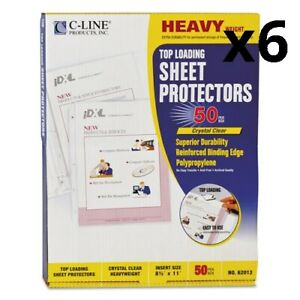 6 Heavyweight Polypropylene Sheet Protectors Clear 2 11 X 8 1 2 50 bx