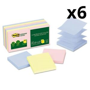 6 Recycled Pop up Notes 3 X 3 Assorted Helsinki Colors 100 sheet 12 pack