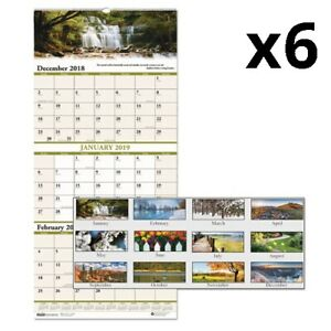Recycled Scenic Compact Three month Wall Calendar 8 X 17 2019 2021 Pack Of 6