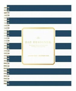 Day Designer Daily monthly Planner 10 X 8 Navy Stripe Frosted 103622 20