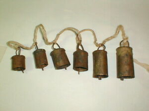 Antique Farm Cow Animal Bells Primitive Hand Made 6 Bells