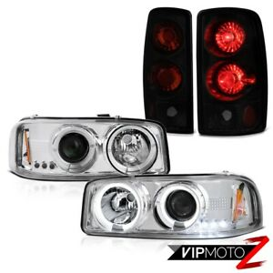 For 00 06 Gmc Yukon Denali Angel Eye Halo Led Headlamp Sinister Black Taillight