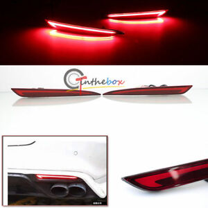 Direct Fit 2014 18 Ford Fusion Mondeo Rear Bumper Reflector Brake Tail Led Lamps