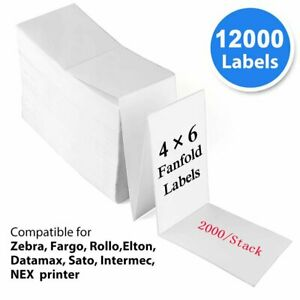 12000 Fanfold 4 x6 Direct Thermal Shipping Label Zebra 2844 Printer Compatible