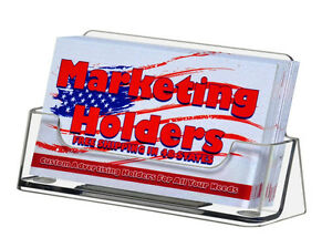 Business Card Holder Gift Card Display Ridged Horizontal Stand Clear Qty 20