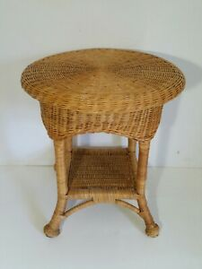 Vintage Round End Table 2 Tier Wicker Rattan Over Bamboo Cane Frame