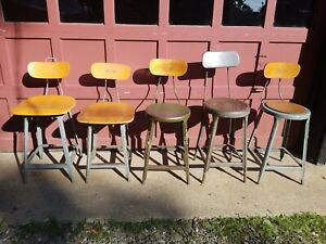 Vintage Industrial Lot Of 5 Factory Machine Age Engineer Drafting Stools Chairs