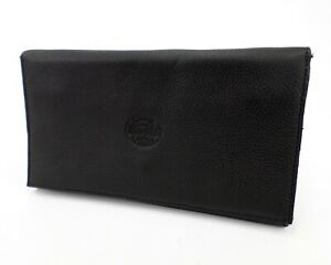 Roots Canada Leather Portfolio Travel Organizer Business Trifold Wallet Black