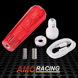 Acrylic Crystal Bubble At Mt Car Shift Knob Gear Stick Shifter Lever Head Red
