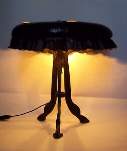 Very Rare Austrian Jugendstil Stool Bronze Table Lamp Chunk Glass Shade 1900