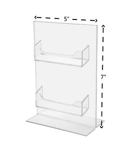 2 Pocket Business Card Holder Display Stand Bottom Load 5 w X 7 h Qty 6