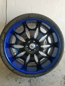 26 Asanti Rims With New Tires Candy Blue And Black