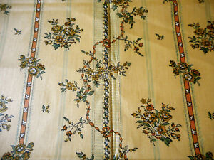 Antique Vintage Floral Garland Stripe Chintz Fabric Apricot Yellow Blue Green