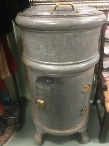 Antique 1906 Round White Frost Ice Box Early Refrigerator
