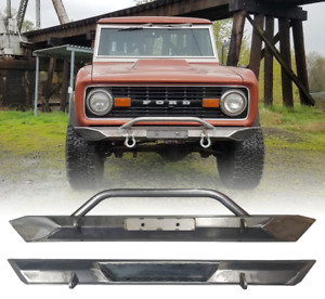 1966 1977 Ford Bronco Front And Rear Bumper Set W Step Raw Steel