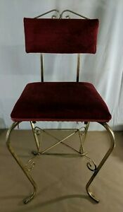 Vintage Vanity Seat Brass Bright Red Cushioned Mid Glam Chair E