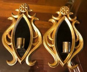 Pair Of Vintage Italian Italy Gold Black Tole Toleware Wall Sconces 9 X6