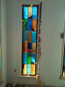 Art Deco Multi Colored Stained Glass Window In Frame Approx 20 X 82 Can Ship