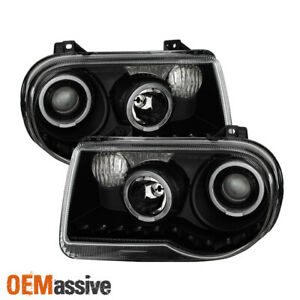 Fit 2005 2010 Chrysler 300c Replacement Black Led Dual Halo Projector Headlights