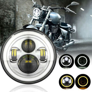 Dot 7 Inch 150w Round Led Headlight Halo Turn Signal Chrome For Harley Davidson