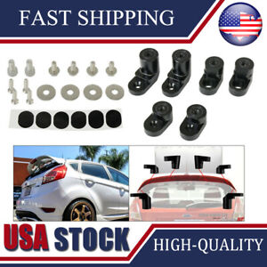 For 14 Up Ford Fiesta St Anodized Black Rear Wing Spoiler Riser Lift Extension