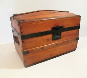 Antique Miniature Dome Top Wooden Steamer Trunk