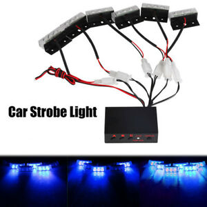 Blue 12v Led Strobe Lights Car Emergency Warning Flashing Flash Signal Lamp New