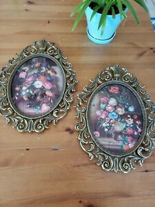 Vintage Floral Pictures Oval Metal Frame Convex Bubble Glass Made In Italy