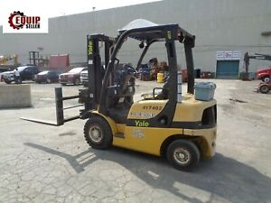 2005 Yale Gp040v Forklift Boom Truck 4000 Lbs With Hydraulic Fork Spreader
