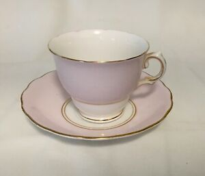 Royal Vale Tea Cup Saucer Fine Bone China England Pink White Gold Trim Euc