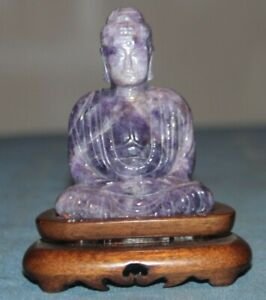 Very Beautiful Chinese Amethyst Carved Buddha Statue With Wood Stand