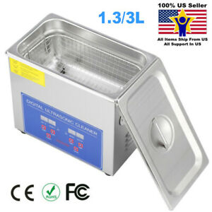 Digital Ultrasonic Cleaner Bath Timer Stainless Tank Jewelry Cleaning 1 3 3l