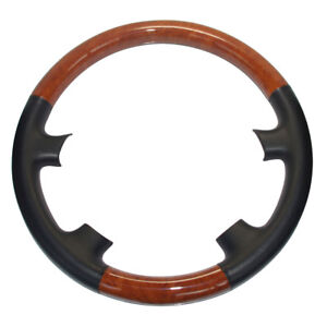 Black Leather Wood Steering Wheel Cover For 03 09 Toyota 4runner Sequoia Lx470