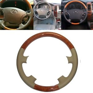 Tan Leather Wood Steering Wheel Cover For 03 07 Lexus Lx470 Gx470 Prado Fj120