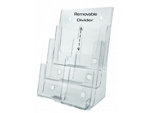 3 Tier Brochure Holder For 8 5 w Literature With Business Card Pocket Acrylic
