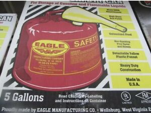 Eagle Safety Gas Can 5 Gallon Osha Nfpa Approved ui 50 fs New