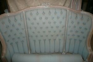 Antique French Provincial Full Bed Frame Louis Xvl Puckered Headboard