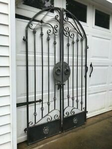 Tuscan Old World Iron Arched Scroll Garden Wine Cellar Gate